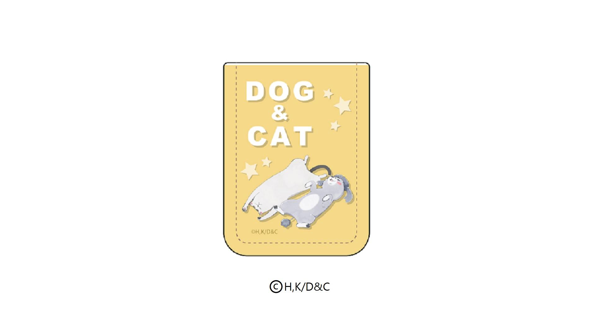 レザーフセンブック「犬と猫どっちも飼ってると毎日たのしい」03/犬くん&猫さま イエロー